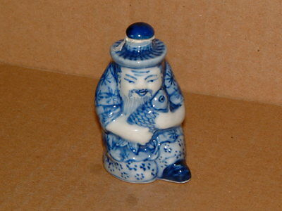 Hand Painted Chinese Blue And White Fisherman Snuff Bottle