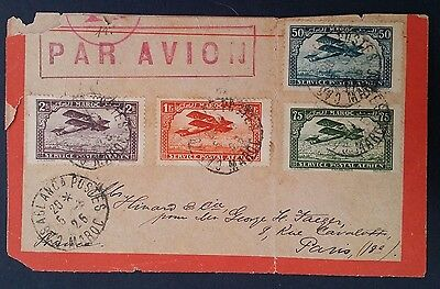 RARE 1926 Morocco Airmail Cover ties 4 multifranked Airmail stamps to Paris