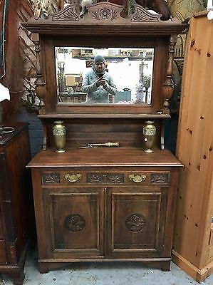Late Victorian Early Edwardian Mirrored Back Sideboard 1900's Antique