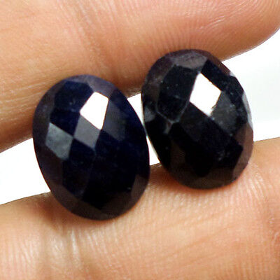 Rare 20.40Ct Natural African Blue Sapphire Pair Oval Checker Cut Gem For Earring