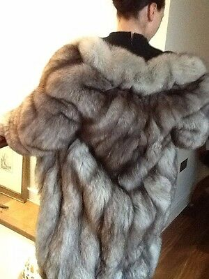 Glamorous Vintage Silver Fox Fur Coat, Size Medium- 10/12, Made in England