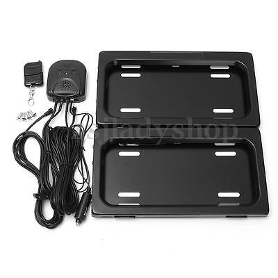 Black Iron Auto Front&Rear License Plate Frame Remote Control Stealth Hidden Kit