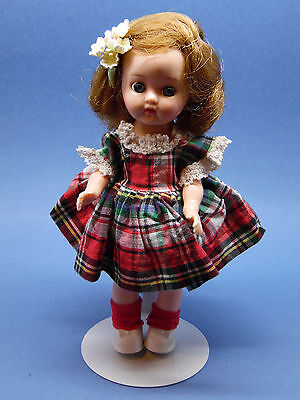 """Ginger 8"""" Doll In Original Tagged Plaid Dress Very Sweet!"""