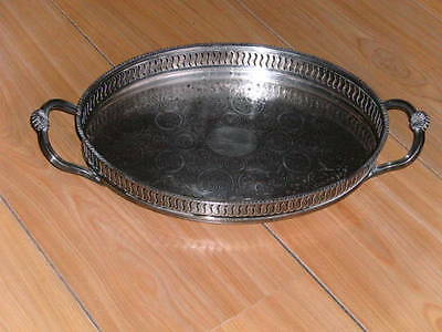 15 Inch Oval Silver Plated With Handles