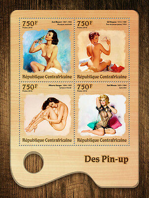 Central African Republic 2016 MNH Pin-Up Girls Art Nude Models 4v M/S Stamps