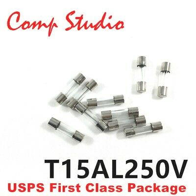 10pcs 15A 250V Slow-Blow Fuse Glass Tube Time-Delay Fuse 5X20mm US Stock