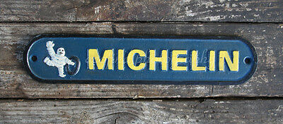 Vintage Oval Cast Iron Michelin Tires Man, Wall Plaque Sign, Auto Cars