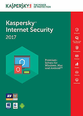 Kaspersky Internet Security 2017 multi-device 3PC ★ 1Jahr | Download | No CD