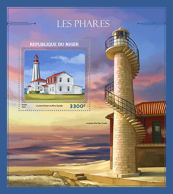 Niger 2016 MNH Lighthouses 1v S/S Pointe-au-Pere Lighthouse Architecture Stamps