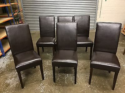 Six 6 Faux Brown Leather High Back Dinning Chairs