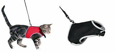 Xcat Soft Mesh Cat Walking Jacket Harness Lead Set Reflective Red Or Black