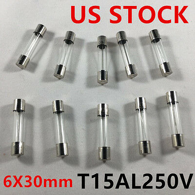 20pcs/lot 15A 250V Slow-Blow Fuse Glass Tube Time-Delay Fuse 6X30mm T15AL250V