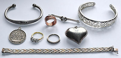 Silver Jewellery Lot As Pictured.925 Italy Bracelet,Bangles,925 Silver QZ Rings