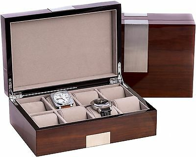 Eight Watch Case Box in High Lacquer Walnut Wood Piano Finish