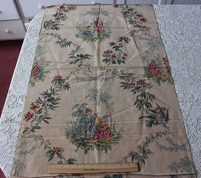 Vintage French c1920 Lyon Printed Moiré Chinoiserie Fabric Textile