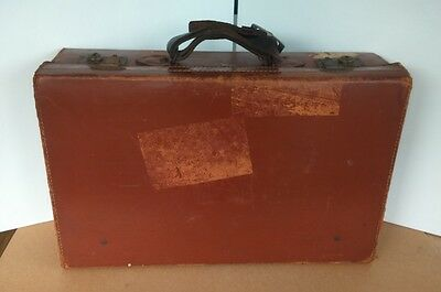 Brown Vintage Leather Suitcase Luggage Some areas of damage Prop or Shop Display