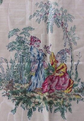 Antique Vintage French c1920 Lyon Printed Moiré Chinoiserie Fabric Textile*