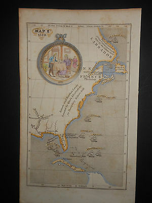 North America United States 1578 Map Columbus Cabot Hand Colored