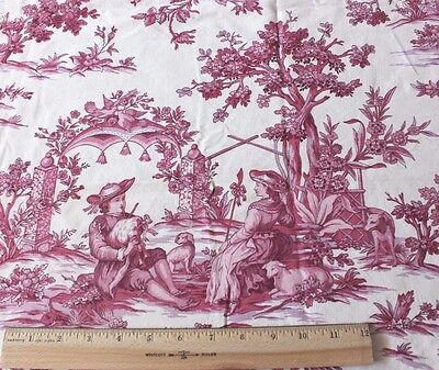 French Vintage c1920-1930 Country Scenic Cotton Toile Fabric~People,Dogs