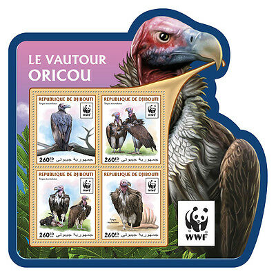 Djibouti 2016 MNH Lappet-Faced Vulture WWF 4v M/S Birds of Prey Stamps