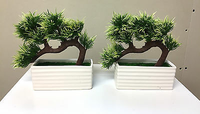 2 x Mini Bonsai Plant Tree Artificial Home Decoration Lifelike Ceramic Base