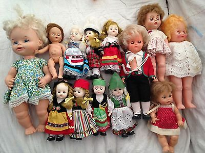 Lot of 13 Vintage Rubber Plastic Baby Dolls Remco,Ideal