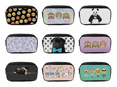 Boys Girls School Large Canvas Pencil Case Zipper Make Up Bag Stationery Cosmeti
