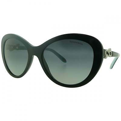 Ex Display Authentic Tiffany Black Cat Eye Sunglasses Gradient Lens & Silver Bow