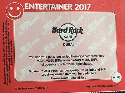 ***** Hard Rock Dubai - BOGOF - Entertainer Dubai 2017 Voucher  *****