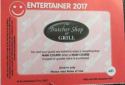 ***** The Butcher Shop & Grill - BOGOF - Entertainer Dubai 2017 Voucher  *****