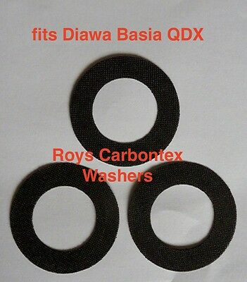 3  Roys carbontex drag washers (UPGRADES THREE SP) suitable for  Diawa Basia QDX
