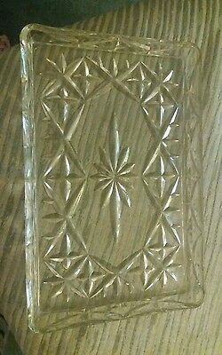 Vintage dressing table tray glass