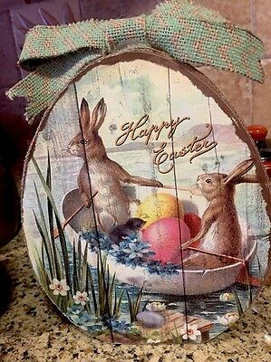 Happy Easter Bunny Rabbit Chicks Eggs FLORAL Tabletop Sign Decor Spring S/2