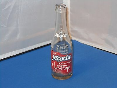 Vintage 7 Ounce New Moxie Sparkling Beverage Soda Pop Soft Drink Glass Bottle!