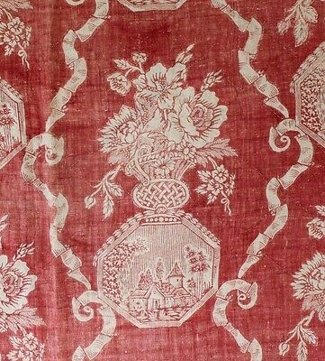 "Wonderful Antique 18thC Handblocked Toile De Jouy Textile Fabric~31""LX 32""W"