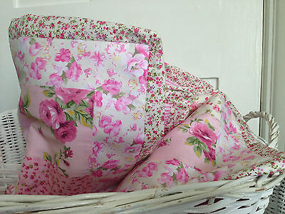 Sweet Floral Blossoms 100% Cotton Baby girl cot quilt blanket gift 109x94 cm NEW