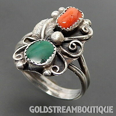 Southwestern Navajo 925 Silver Green Turquoise & Coral Swirls Ring (5.25) #6737