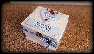 Baby Boy Wooden Keepsake Box Gift Christening Memory Box PERSONALISED
