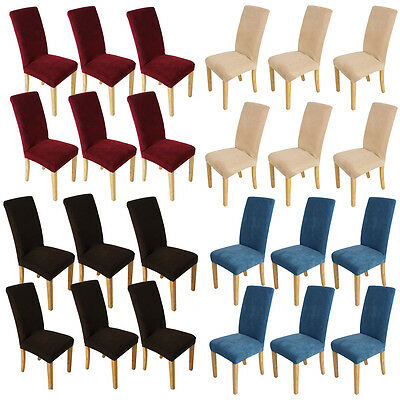 6pcs Stretch Dining Chair Cover Slipcover Seat Protector Removable Soft Covers