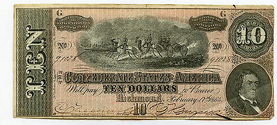 February 17th, 1864 Richmond $10 Confederate States Note Nice AU