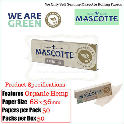 Mascotte Extra Thin Organic Hemp Regular Rolling Papers - 5/10/25 & One Full Box