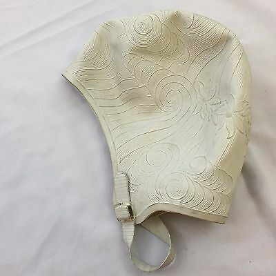White Rubber Bathing Swim Cap Chin Strap Sea Siren Pretty Products USA Vintage