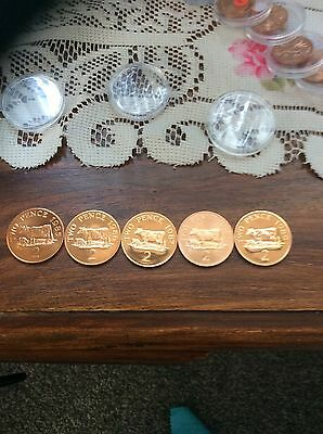 GUERNSEY 1985/6/7/8/9 BRILLIANT UNCIRCULATED 2p COINS