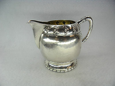 Quality Art Nouveau Arts & Crafts Solid Silver Hammered Cream Jug