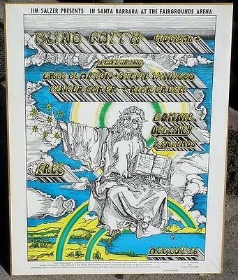 Psychedelic poster Blind Faith w/ Eric Clapton SALZER Santa Barbara 1969 mint