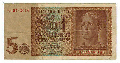1942 Germany 5 Reichsmark Banknote, P#186a