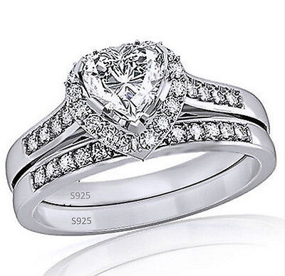 Women's 925 Sterling Silver Heart Shaped CZ Halo Engagement and Wedding Ring Set