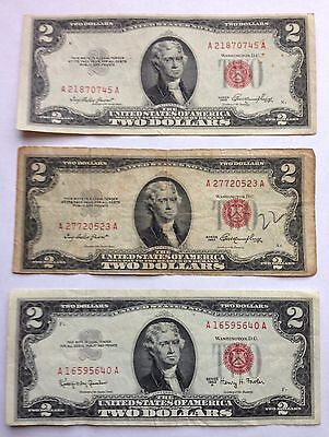 3 US $2 Banknotes—2 1953 and 1 1963