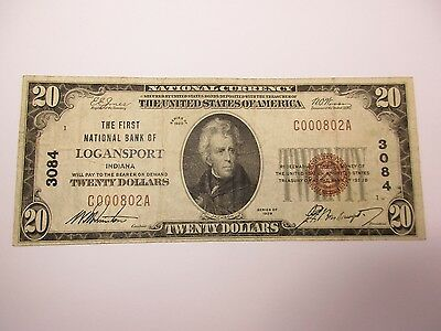 National Currency Logansport, IN $20 Series 1929 Fine-Very Fine