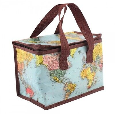 Vintage Style World Map Insulated Lunch Bag Picnic Cool